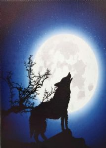 Moonlight Wolf Light Up LED Canvas Wall Hanging 40 x 30